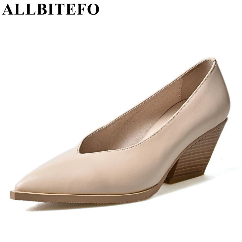 ALLBITEFO full genuine leather pointed toe fashion casual Comfort women pumps High quality ladies shoes platform high heel shoes hot sale square toe full genuine leather charm design platform women pumps platform fashion casual party shoes ladies shoes