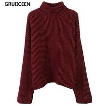 b6bb695b7c34 Gruiiceen elegante suéter de otoño mujeres 2017 vintage vino rojo suéter cuello  alto suéter hecho punto
