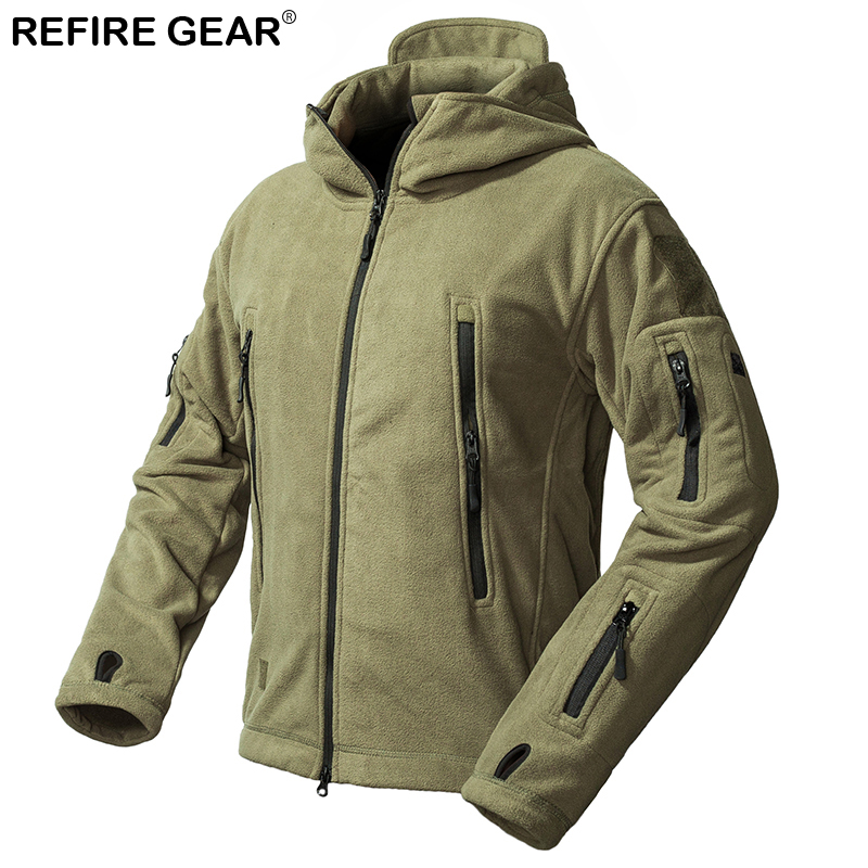Refire Gear Outdoor Fleece Jacket Men Warm Thicken Polar Multi-Pocket Hiking Jacket Winter Outerwear Clothes Hooded Coat ws715 men s autumn winter wear multi pocket polyester slim jacket deep blue yellow l