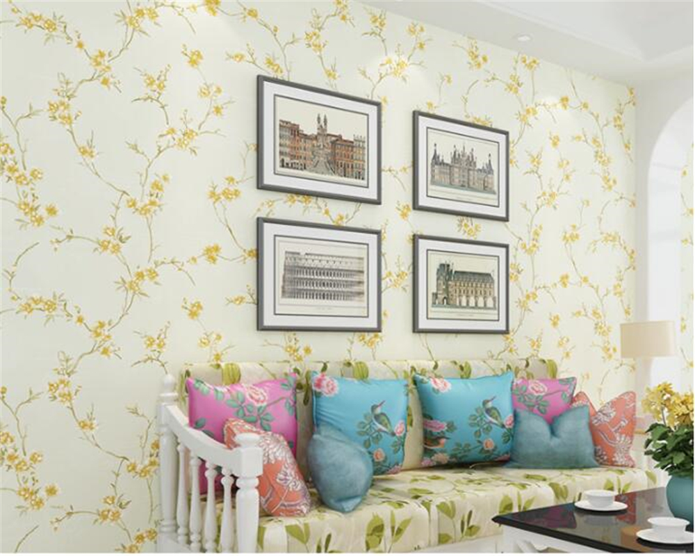 beibehang Pastoral small fresh nonwoven 3d wallpaper warm romantic girl bedroom princess room stereo relief wall paper tapety