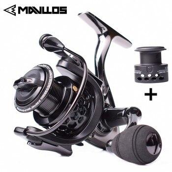 цена на Mavllos Carp Fishing Spinning Reel 14+1BB Speed Ratio 5.5:1 1000 2000 3000 7000 Double Spool Metal Saltwater Boat Fishing Reel