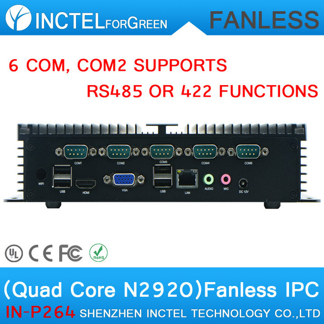 2015 new arrival best industrial fanless computer with Quad Core N2930 1.83Ghz 6 RS232 4G RAM Onboard 2 Intel I210 Gigabit LAN