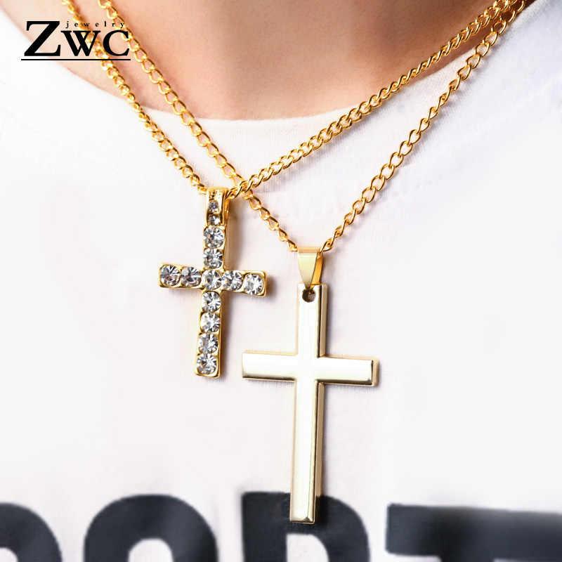 ZWC moda ze stali nierdzewnej złoty srebrny krzyż naszyjnik dla kobiety mężczyźni w stylu Vintage łańcuch kryształ wisiorek długie naszyjniki biżuteria prezent
