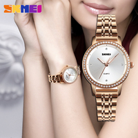 SKMEI 1311 Watches Women Quartz Waterproof Rhinestone Rose Gold Stainless Steel Casual Luxury Quartz Ladys Watch for Woman Clock