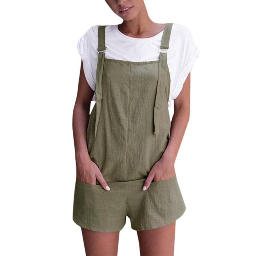 Fashion Pockets Rompers Summer Women Sleeveless Casual Playsuit Shorts Ladies Elegant Elastic Waist Dungarees Jumpsuit #JO