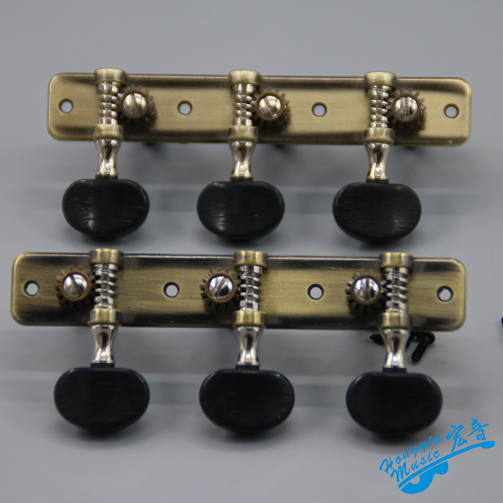 1 Pair Left and Right Classical Guitar String Tuning Pegs Machine Heads Antique Simple Pure Copper Tuners Keys Parts HY403AB-A2B a set chrome sealed gear tuning pegs machine heads tuners for guitar with black big square wood texture buttons