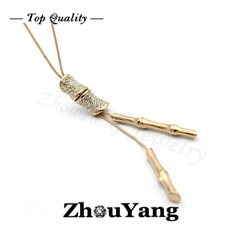 M001 Banboo Crystal Sweater Chain  Rose Gold Plated Pendant Necklace Jewelry Austrian Crystal  Wholesale