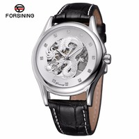 Top Brand Forsining 2018 Watch with Clear stones Genuine Leather Strap Automatic Mens Watch With Gold Dragon