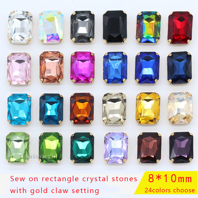 30p 8x10mm Octagon color sew on faceted crystal glass Flatback rhinestones  gold Metal claw Gems craft DIY Decorative accessories 2374cafdabcc