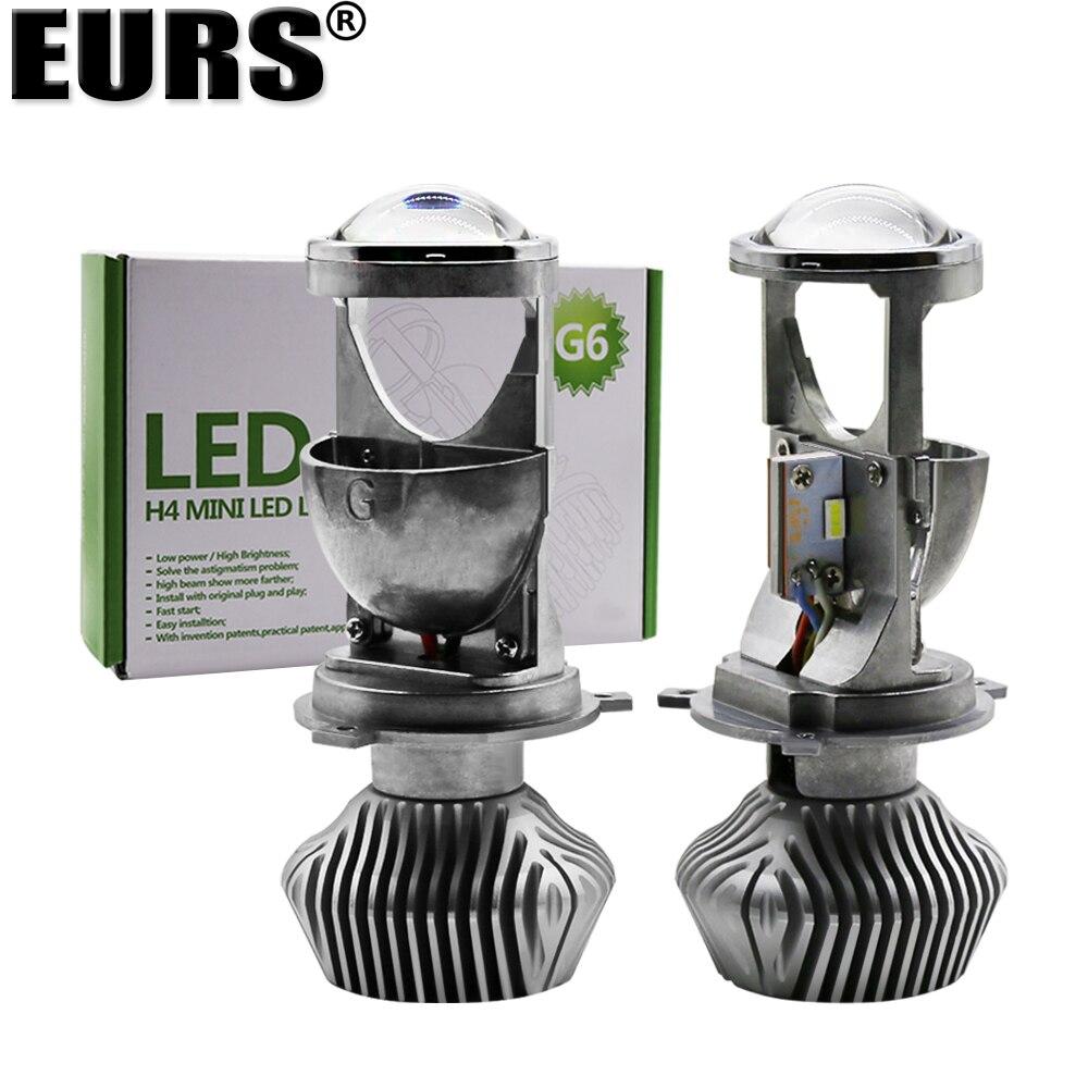 EURS lampe H4 mini projecteur LED lentille automobile LED ampoule LED Kit de Conversion Hi/Lo faisceau phare 12 V/24 V 6000 K blanc G9 G6 70 W