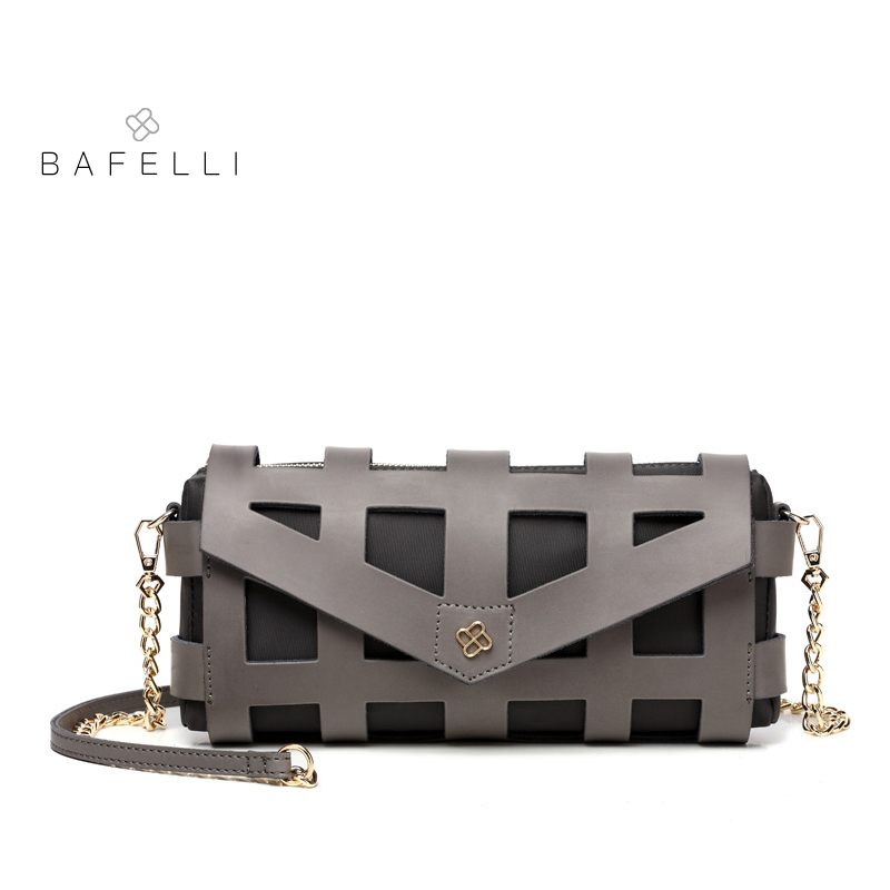 BAFELLI women bags split leather hollow out shoulder crossbody bags for women leather handbag bolsos mujer bags for women 2017 trendy off the shoulder lace spliced hollow out blouse for women