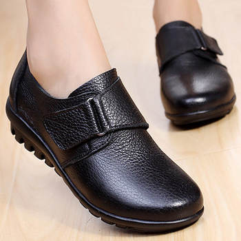 Women flat shoes big size 4.5-10.5 hook & loop casual womens genuine leather loafers shallow comfortable female shoes keerygo women s shoes inside and outside the full leather lace leather shoes comfortable feet big shoes