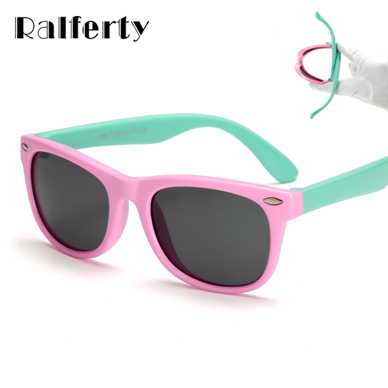 Ralferty TR90 Flexible Kids Sunglasses Polarized Child Baby Safety Coating Sun Glasses UV400 Eyewear Shades Infant oculos de sol high fashion transparent sunglasses women brand designer glasses spectacles reflective mirror sun glasses lentes de sol mujer