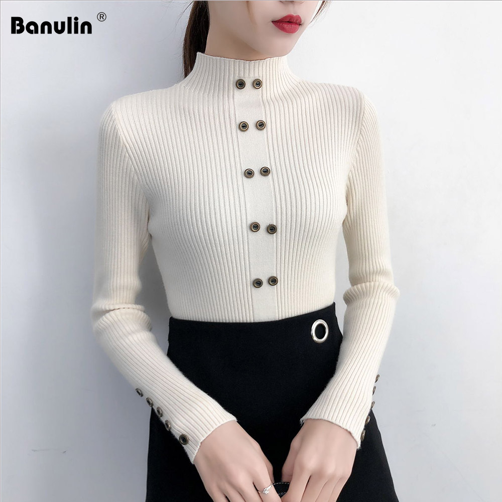Banulin  Winter Turtleneck Letter Sweater Women Long Sleeve Slim Knitted Pullovers Female Soft Warm Autumn Casual Jumper