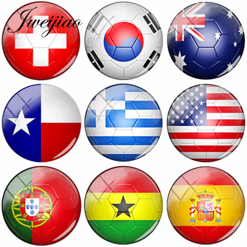 JWEIJIAO Wholesale 35 National Flag Glass Cabochon Dome Spain, Russia,USA Flags Pictures DIY Glass Dome For Keychain Necklace