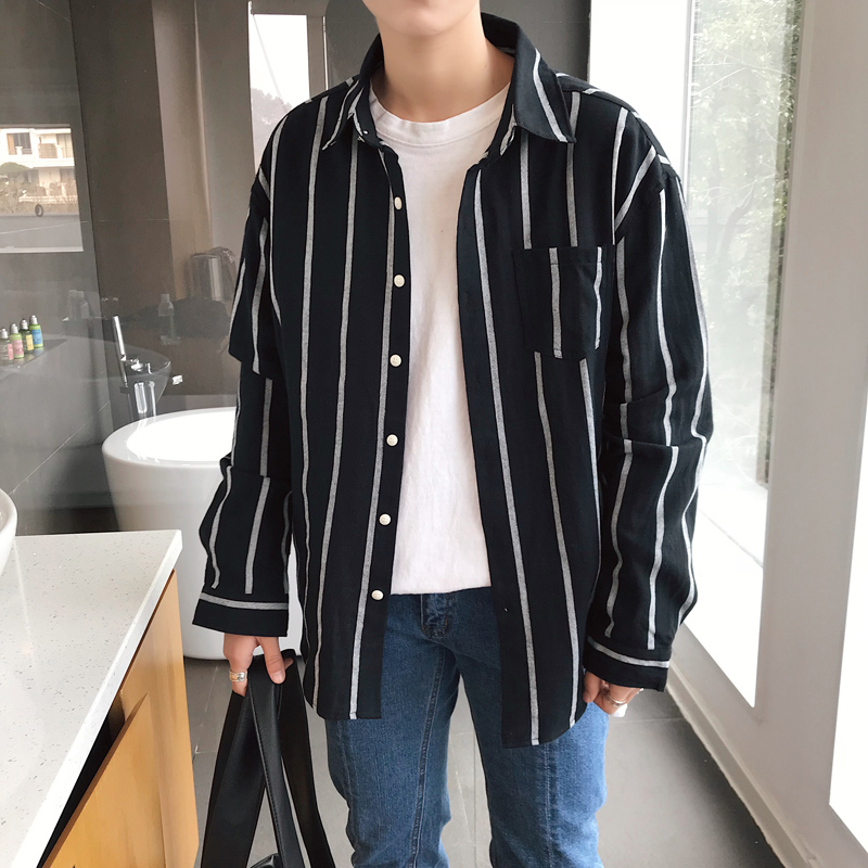 M-XXL 2018 New Men's clothing Fashion Hair Stylist Singer DJ GD handsome Loose Small fresh striped Shirt costumes