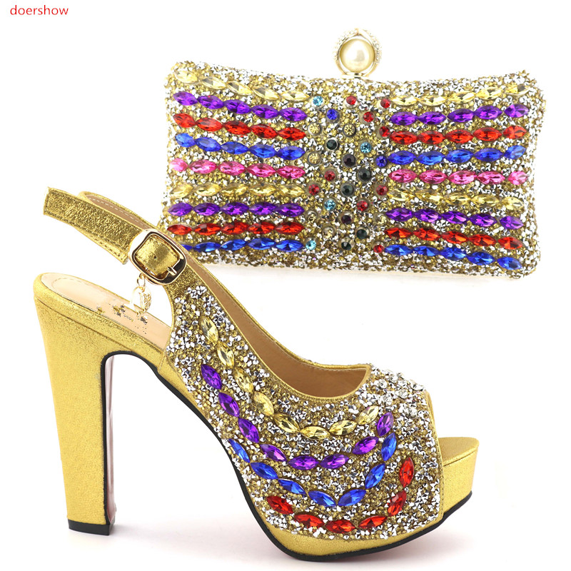 doershow African Matching Shoe and Bag Set Decorated with Rhinestone Nigerian Shoes and Bag Set Italian Ladies Shoe HQQ1-13 doershow italian shoe with matching bag silver african shoe and bag set new design matching shoes and bags for party bch1 6