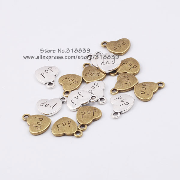 antique metal zinc alloy small heart alphabet letters dad charms fit jewelry pendant making charms wholesale