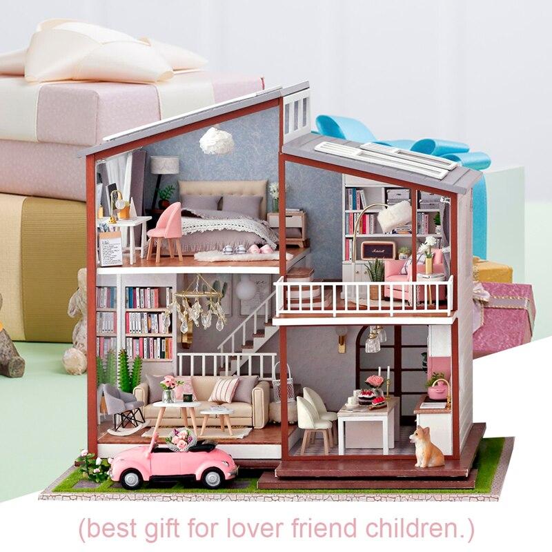 Oyuncaklar ve Hobi Ürünleri'ten Oyuncak Bebek Evleri'de CUTEBEE Bebek Evi kendin yap minyatür bebek oyuncak evi Mobilya Ile Ahşap Ev Oyuncaklar Çocuklar Için doğum günü hediyesi A010'da  Grup 2