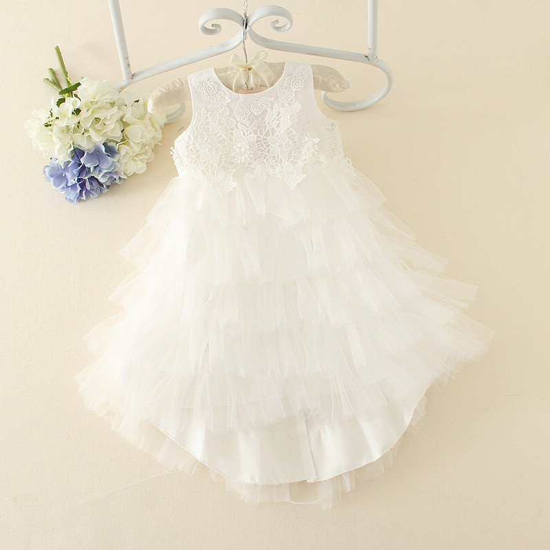 Lace Cute White Flower Girl Dresses Sleeveless For Weddings Children Prom Gown Girls First Communion AD-1653