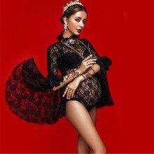 סקסי תחרה יולדות צילום אבזרי יולדות שמלות לצילומים הריון שמלת צילום Vestidos עבור בהריון נשים