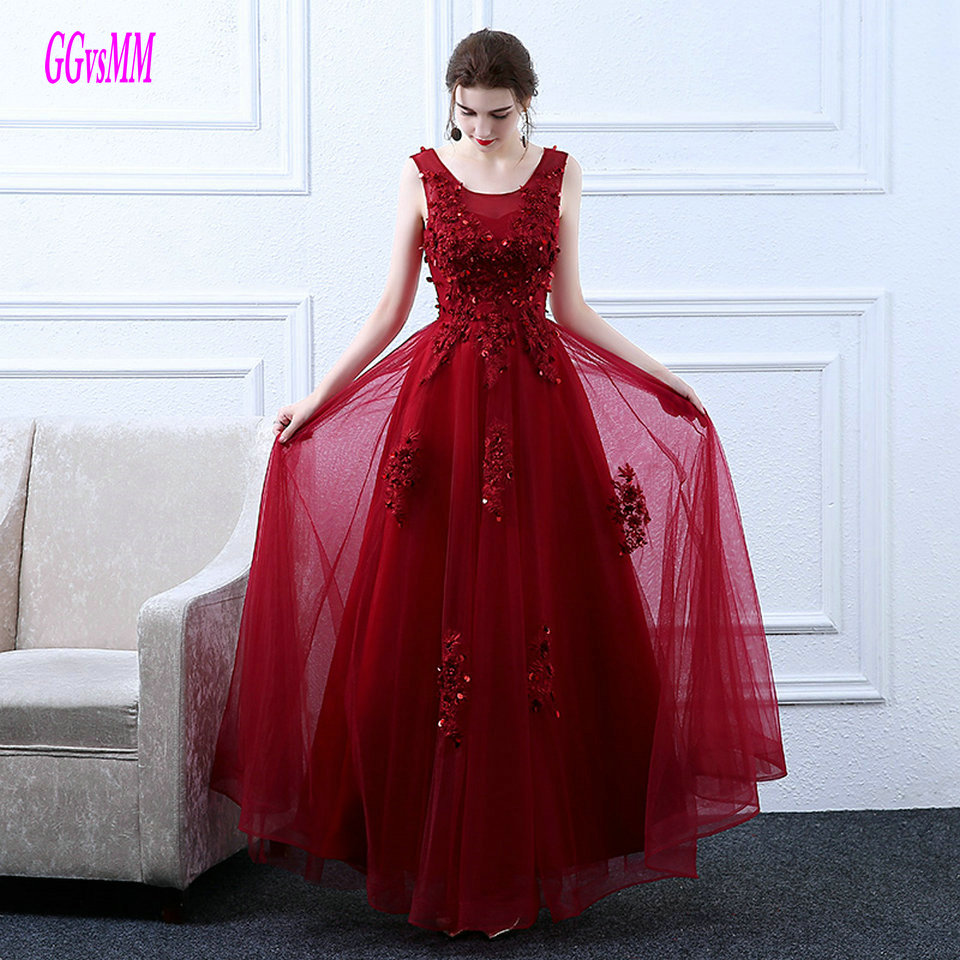 Sexy Burgundy   Evening     Dresses   Long 2019   Evening     Dress   Plus Size Scoop Tulle Appliques Lace Up Formal Party Gown Prom Custom Made
