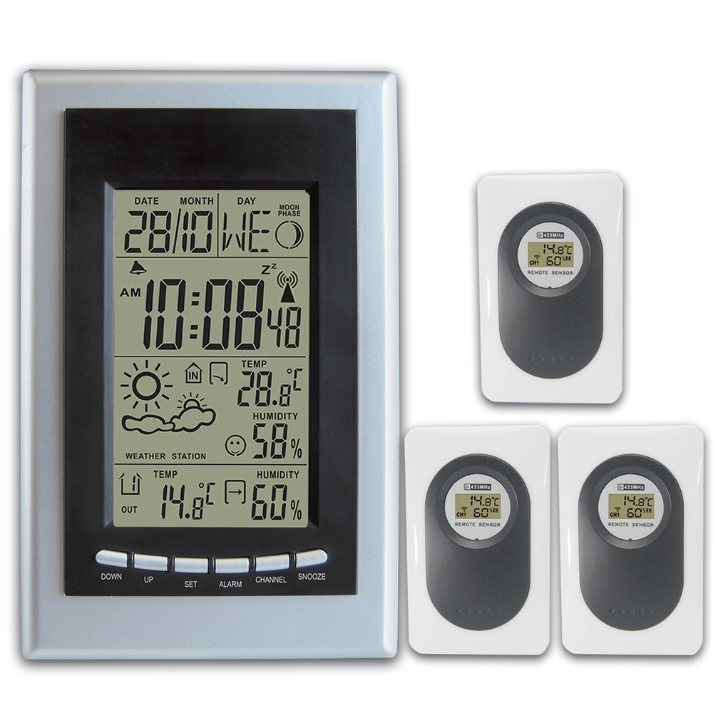 RF RCC Wireless Weather Station with Indoor Outdoor Thermometer Hygrometer Weather Forecast Digital Alarm Clock 3 Transmitters indoor outdoor digital thermometer hygrometer dykie rcc wireless weather station with alarm clock weather forecast wholesale