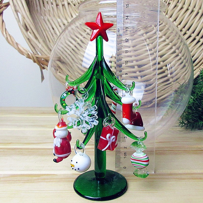 Custom hand made Murano glass crafts Christmas tree Figurines ornaments simulation Christmas home Decoration pendant gift 15cm