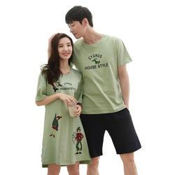 Пара Короткие рукава пижамы Лето 100% хлопок мультфильм Повседневное свободные плюс Размеры M-XXXL мужской пижамы и Для женщин Ночная Пижама