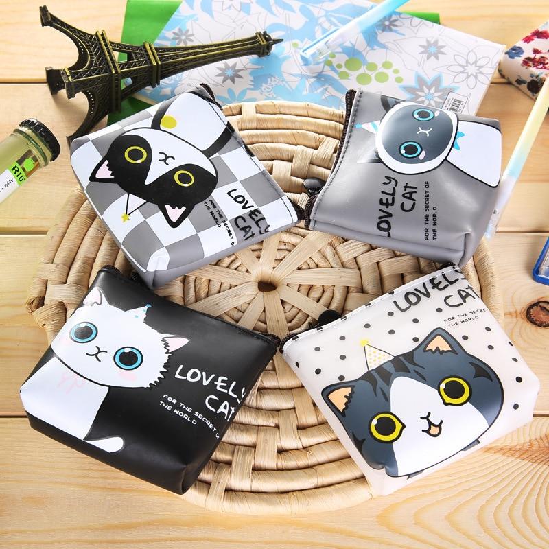 2017 Korean version of the girls cat coin purse waterproof headphone clutch bag animal Kids Zipper Change Wallet Card Holder the eyes of the cat
