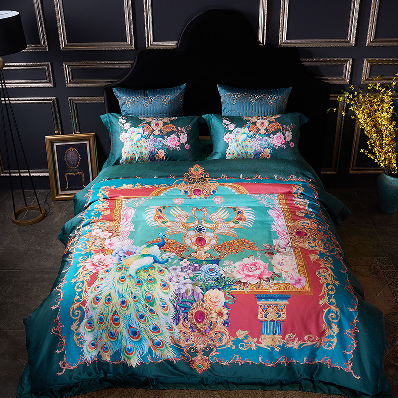 2017 Cotton Imitated Silk Luxury Bedding Set Peacock Digital Printing Bed King Queen Linens Duvet Cover Sheet In Sets From Home Garden