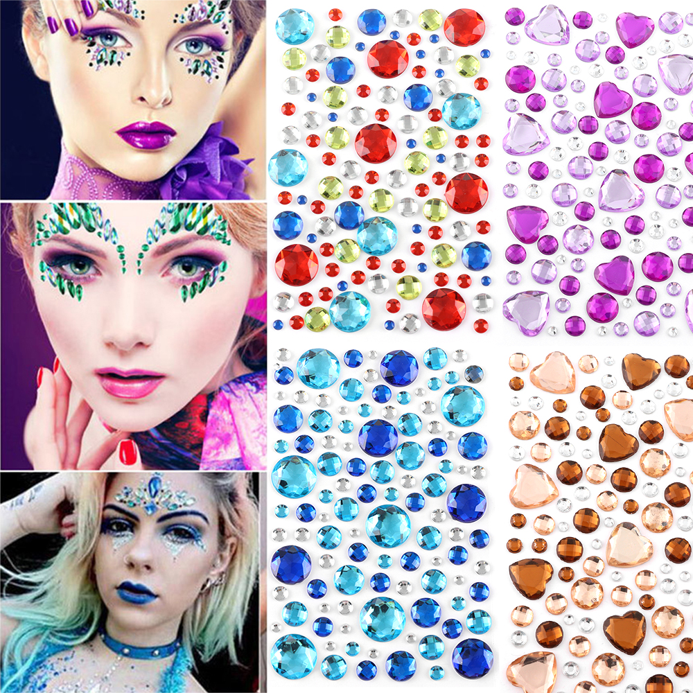 3D Crystal Face Gems Adhesive Rhinestone Jewels Stickers Festival Fancy Party Glitter Body Facial Decal DIY Self Adhesive Tattoo