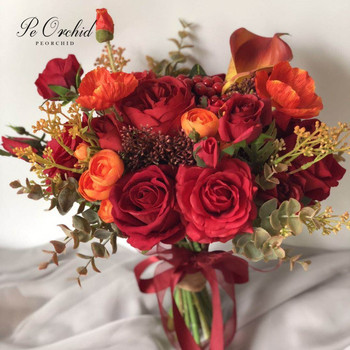 PEORCHID Orange Red Burgundy Artificial Wedding Bouquet Flower For Bride Calla Lily Rose Bridal Hand New Arrival