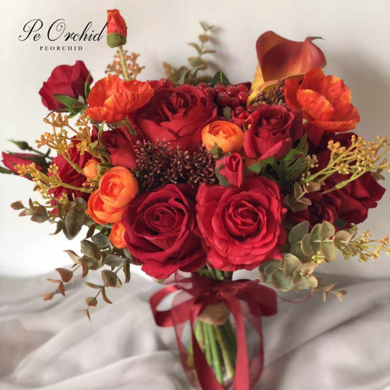 Peorchid Orange Red Burgundy Artificial Wedding Bouquet Flower For Bride Calla Lily Rose Bridal Hand Bouquet New Arrival Wedding Bouquets Aliexpress
