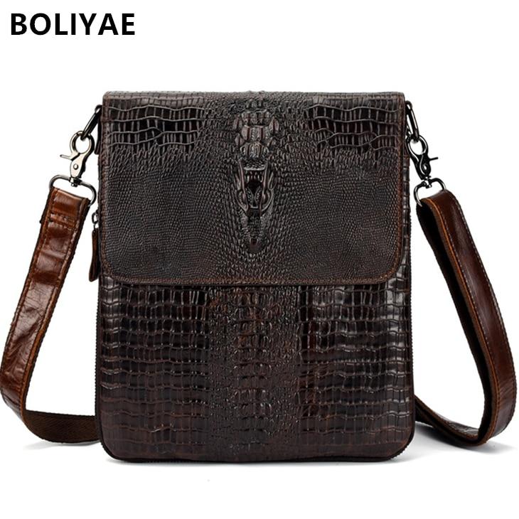 BOLIYAE Genuine Leather Flap Messenger Bag Shoulder Bags Luxury Crocodile Pattern Cowhide Men Business Cross Body Briefcase