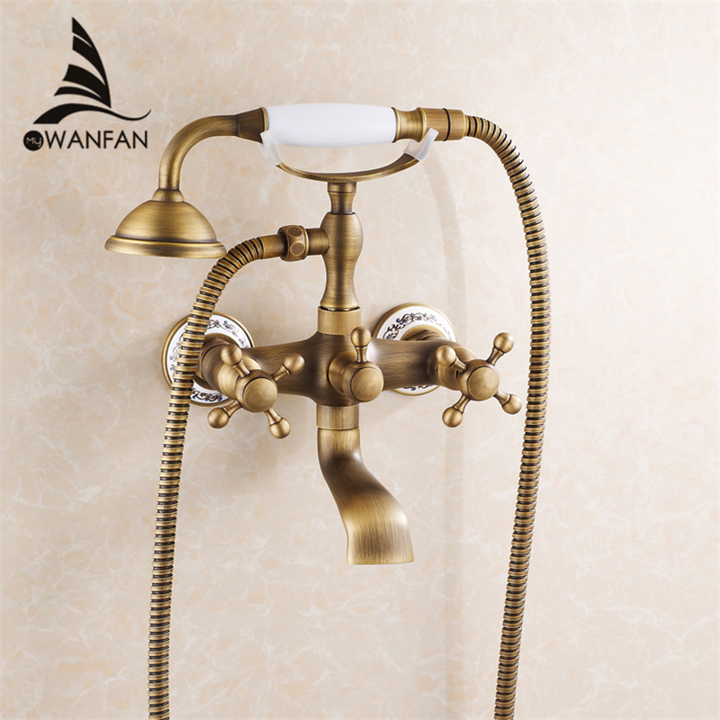 New Arrival Rain Shower Faucets With Ceramic Mixer Tap Antique Brass Bath Shower Faucet Set Bathtub Faucet 6761AF Free shipping