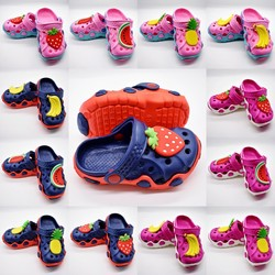 Kids Boys Girls Sandal Clogs Shoes With Cartoon Fruit Charms For All Season