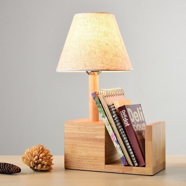 TUDA 26x43cm Free Shipping Natural Wooden Table Lamp Flax Fabric Lampshade Table Lamp Creative Bookshelf LED Table Lamp E27