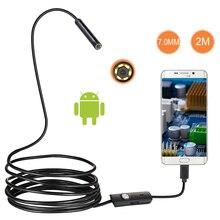 7 мм объектив Android OTG USB эндоскоп камера 2 м умный Android телефон USB бороскоп Инспекционная камера со змеиной трубкой 6LED