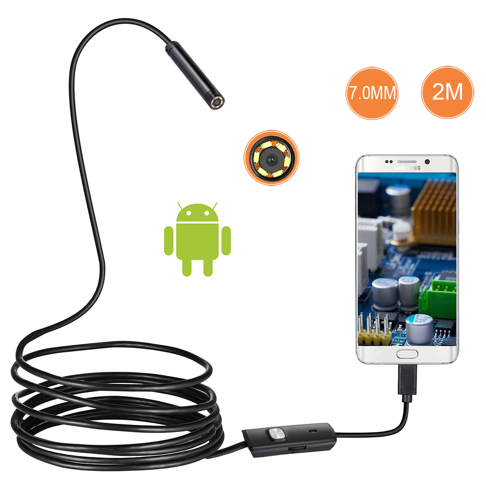 7mm Lens Android OTG USB Endoscope Camera 2M Smart Android Phone USB Borescope Inspection Snake Tube Camera 6LED