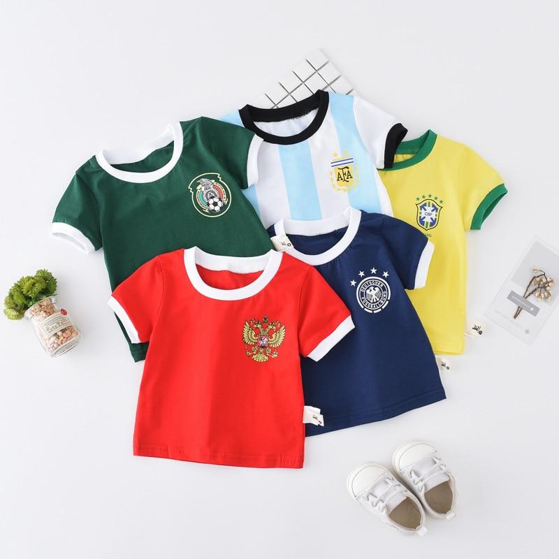 KidsT Shirt 2018 World Cup Football Popular Cotton Short-sleeved T-shirt Alphabet Childrens Boys Girls Childs Clothes Tshirt