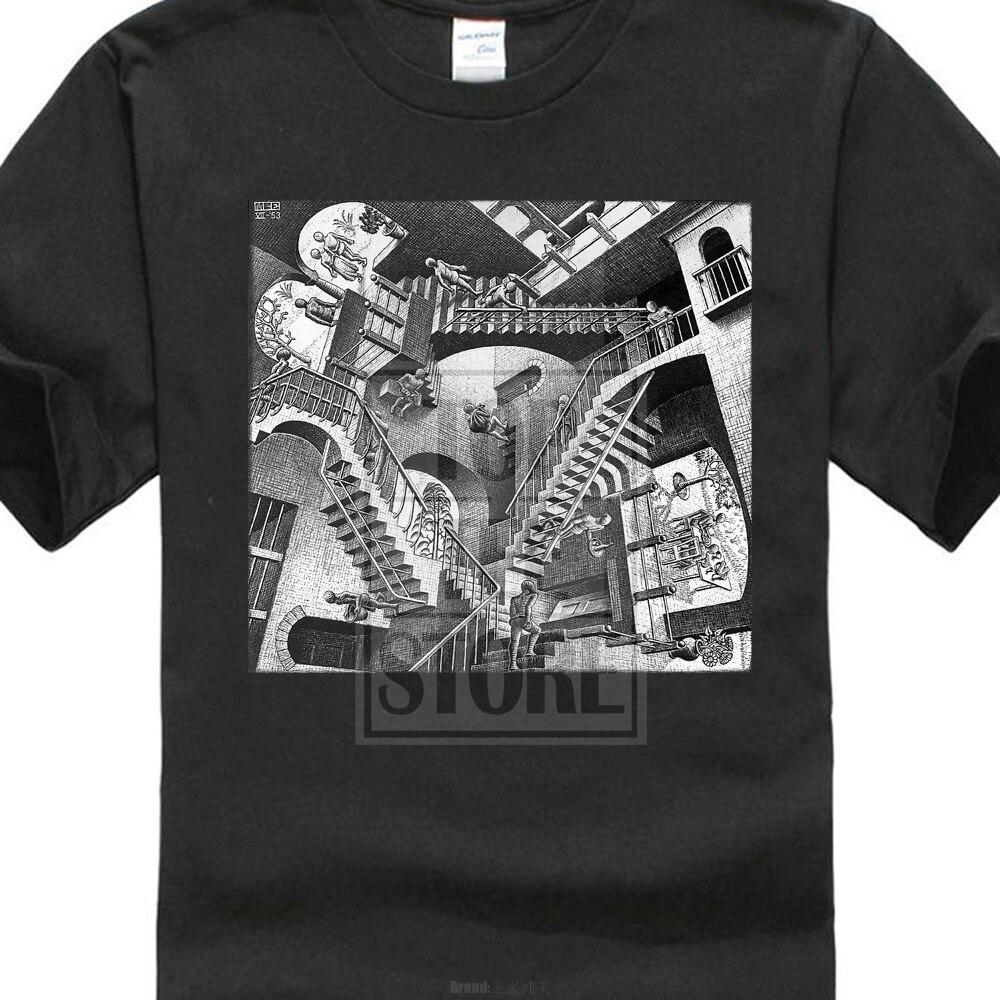 Printed T Shirt Men'S Short Sleeve O Neck T Shirts Summer Stree Twear Mc Escher Relativity Art Print Men'S T Shirt