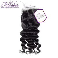Fabbabes Brazilian Lace Closure 4*4 Deep Wave Free Part Style With Baby Hair 100% Human Remy Hair Bundle