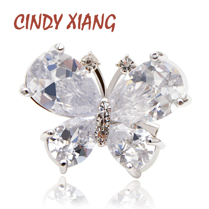 CINDY XIANG Fashion Ziron Butterfly Brooches For Women Copper Material Silver Color Insect Pins Small Elegant Girl Gift