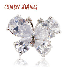 CINDY XIANG Fashion Ziron Butterfly Brooches For Women Copper Material Silver Color Insect Pins Small Elegant Girl Pins Gift ztung gop9 for us fashion ziron flowers pendant send with white and blue material 925 silver chian for women wonderful gift
