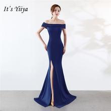 Вечернее платье Русалка Молния назад Королевский синий Белый