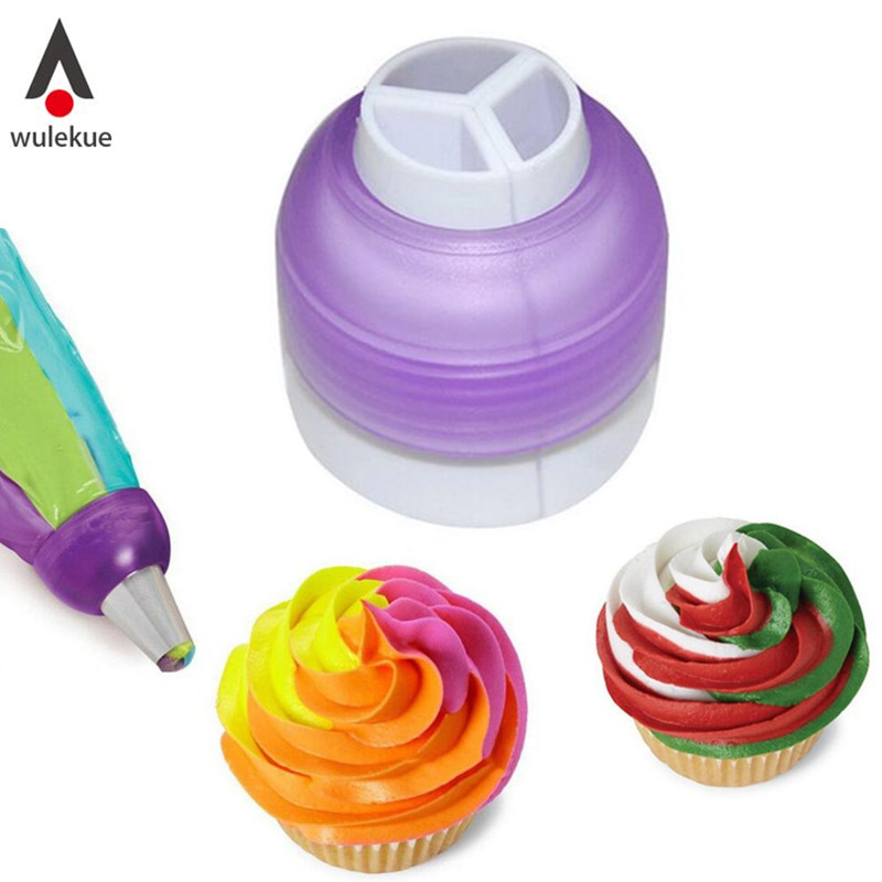 1PCS 3 Kek Kek Coupler Alat Bakeware Cupcake Coupler Fondant Cookie Cutters Cream Decorating Bags Converter Cake Tools