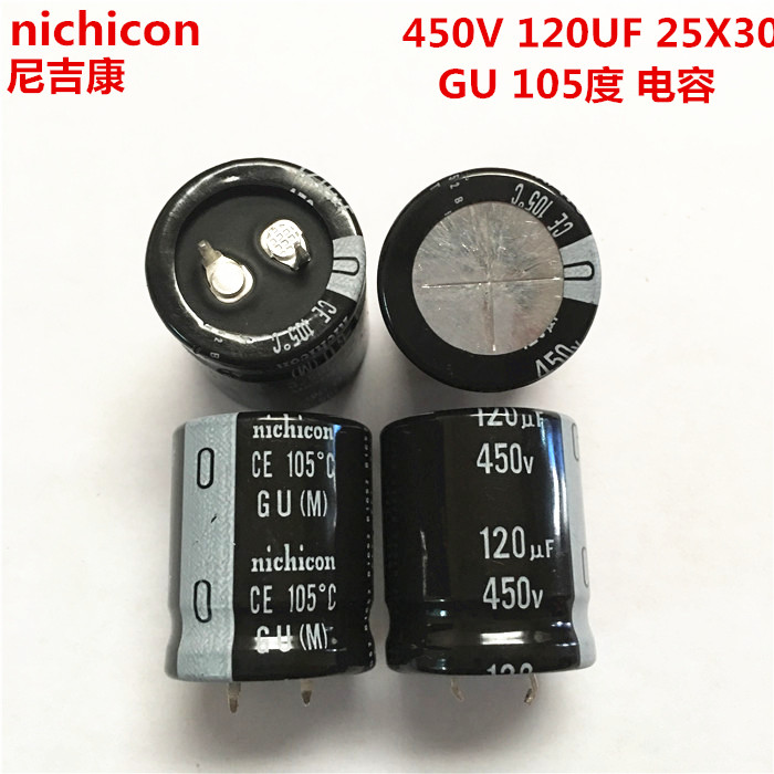 2PCS/10PCS 120uf 450v Nichicon GU 25x30mm 450V120uF Snap-in PSU Capacitor image