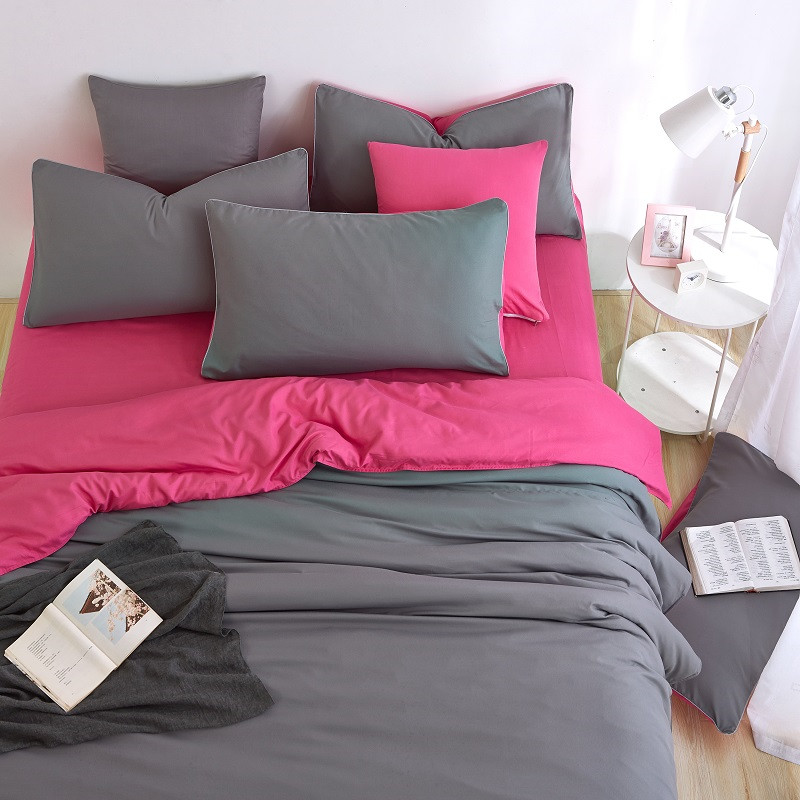 Gray/Fuchsia AB Side Color Comfortable 4PCS Bedding Set Soft Bed Set High Quality Sheet Quilt Cover Pillow Case Easy to Sleep