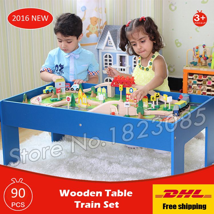 90PCS Wooden Table Train Diecasts Toy Vehicles Kids Toys Model Cars puzzle Building slot track Rail transit Parking Garage Set